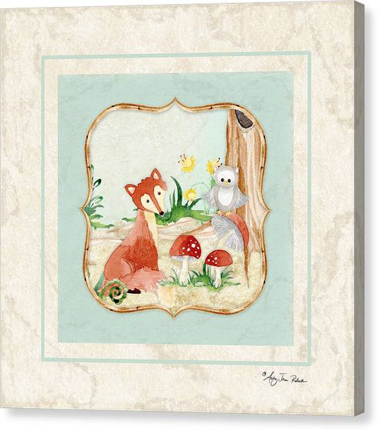 Foxes Canvas Print - Woodland Fairy Tale - Fox Owl Mushroom Forest by Audrey Jeanne Roberts