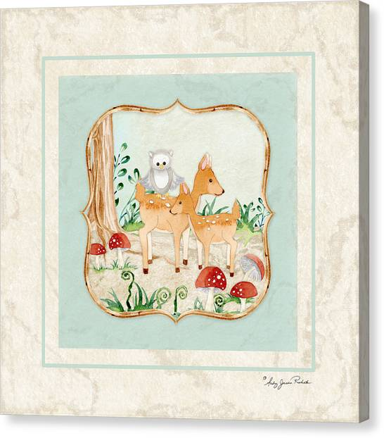 Cute Fawn Canvas Print - Woodland Fairy Tale - Owl On Deer Fawns Back In Forest by Audrey Jeanne Roberts