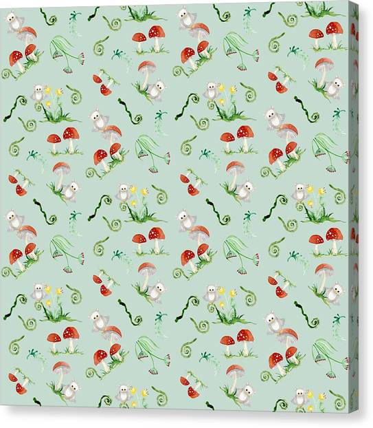 Pattern Canvas Print - Woodland Fairy Tale - Red Mushrooms N Owls by Audrey Jeanne Roberts