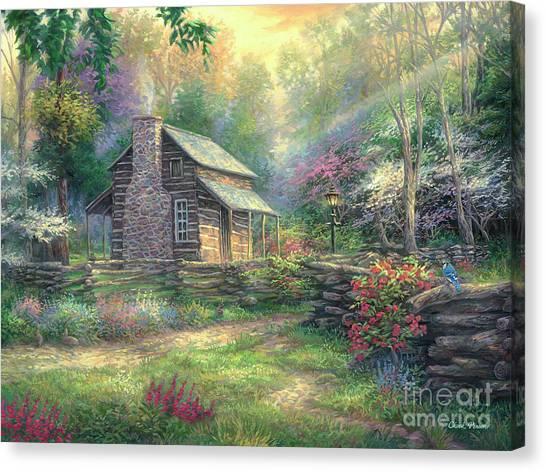 Dogwood Canvas Print - Woodland Oasis by Chuck Pinson