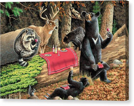 Raccoons Canvas Print - Woodland Wine Tasting by JQ Licensing