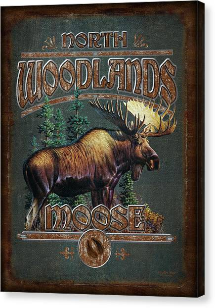 Pine Trees Canvas Print - Woodlands Moose by JQ Licensing