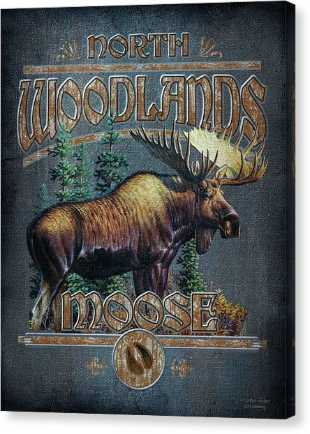 Moose Canvas Print - Woodlands Moose Sign by JQ Licensing