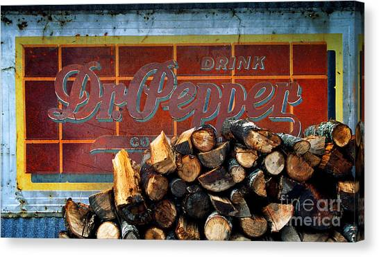 Dr. Pepper Canvas Print - Woodpile With Taste - Dr Pepper Rustic Antique Red Country Southwest by Jon Holiday