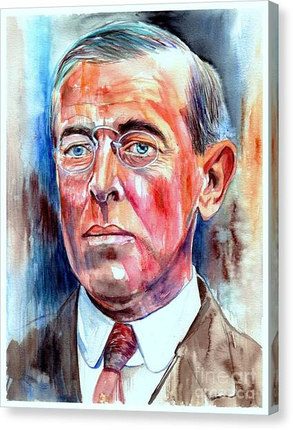 Johns Hopkins University Canvas Print - Woodrow Wilson Painting by Suzann's Art