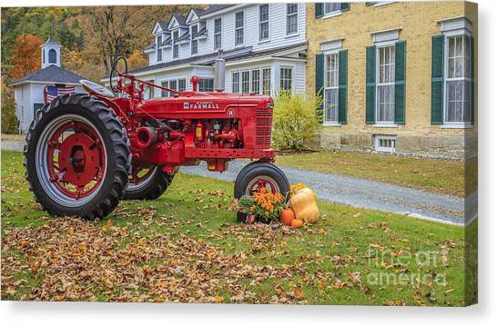 Big Red Canvas Print - Woodstock Vermont Red Tractor by Edward Fielding