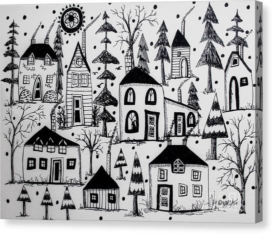 Pen And Ink Drawing Canvas Print - Woodsy Village by Karla Gerard