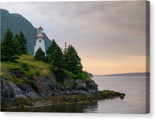 Woody Point Lighthouse - Bonne Bay Newfoundland At Sunset Canvas Print
