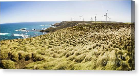 Wind Farms Canvas Print - Woolnorth Wind Farm And Ocean Landscape Tasmania by Jorgo Photography - Wall Art Gallery