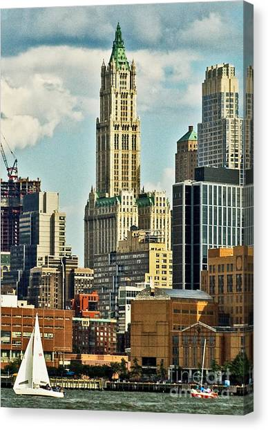 Woolworth Building From Hudson River Canvas Print by Allan Einhorn