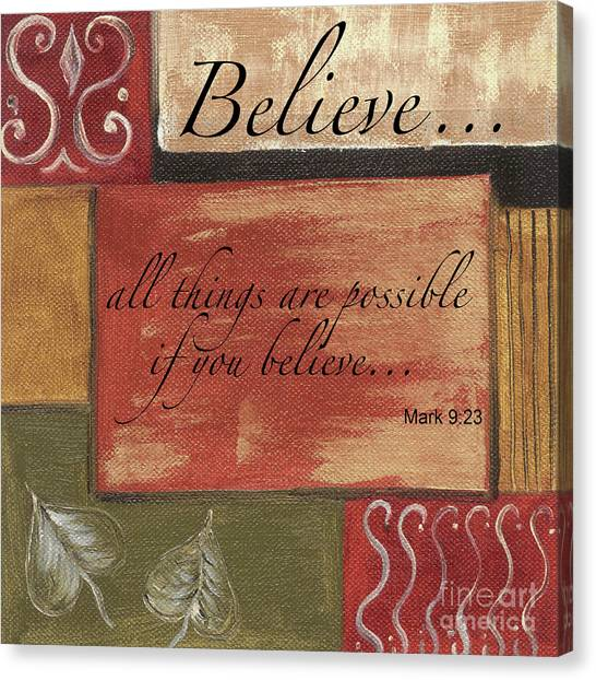 Bible Verses Canvas Print - Words To Live By Believe by Debbie DeWitt