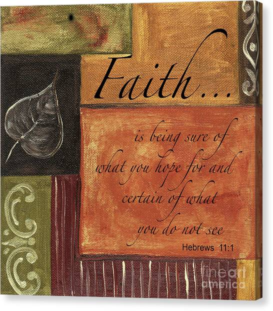 Word Art Canvas Print - Words To Live By Faith by Debbie DeWitt