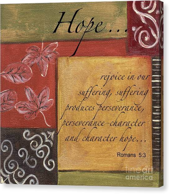 Roman Art Canvas Print - Words To Live By Hope by Debbie DeWitt