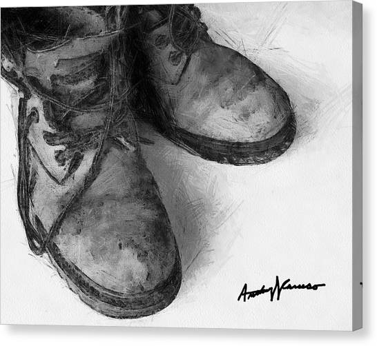 Work Boots Canvas Print by Anthony Caruso