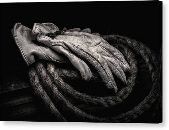 Black And White Art Canvas Print - Work Gloves Still Life by Tom Mc Nemar