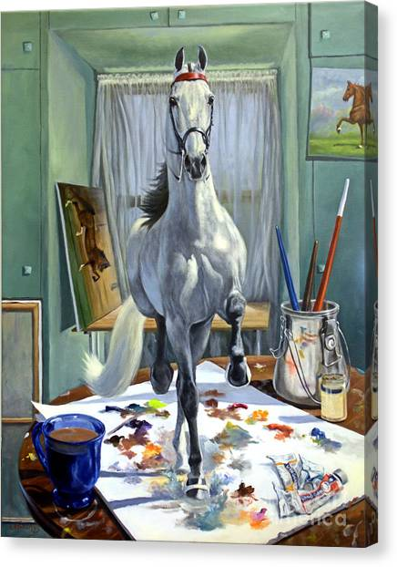 Equine Canvas Print - Work In Progress V by Jeanne Newton Schoborg