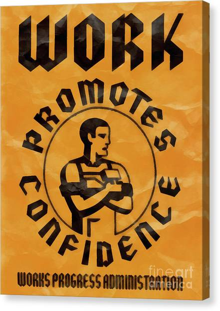 Big Brother Canvas Print - Work Promotes Confidence Vintage Poster by Edward Fielding