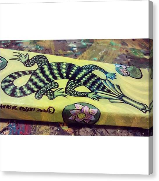 Reptiles Canvas Print - Worked On A Gator Painting With Water by Genevieve Esson