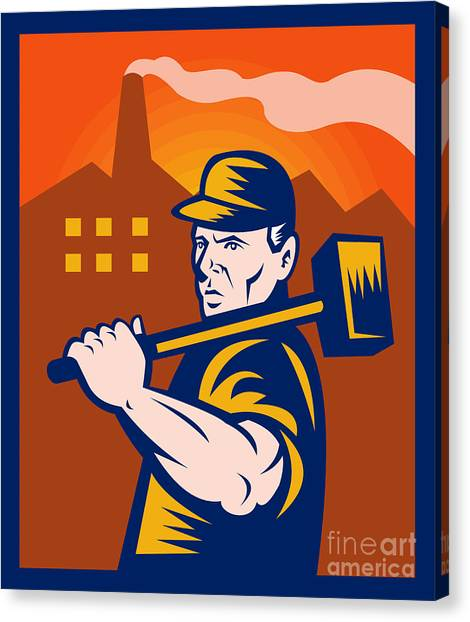 Worker With Sledgehammer Canvas Print by Aloysius Patrimonio