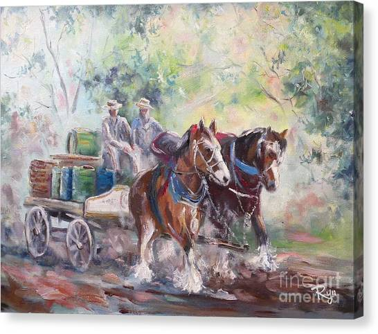 Working Clydesdale Pair, Victoria Breweries. Canvas Print