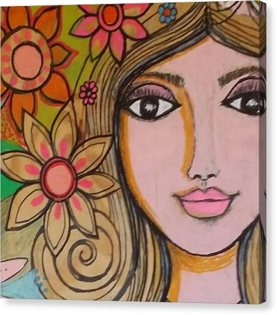 Face Canvas Print - Working On A New #girliegirl On by Robin Mead