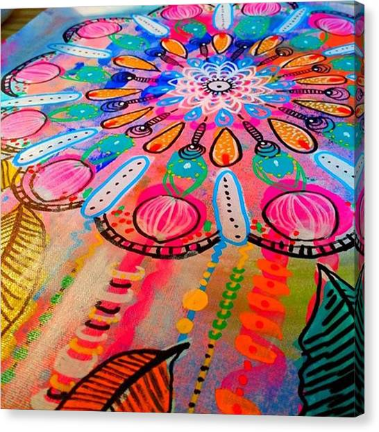 Canvas Print - Working On A New #mandala #wallhanging by Robin Mead