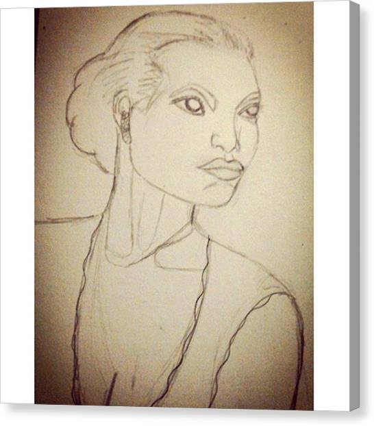 Hollywood Canvas Print - Working On An Eartha Kitt Sketch For My by Genevieve Esson