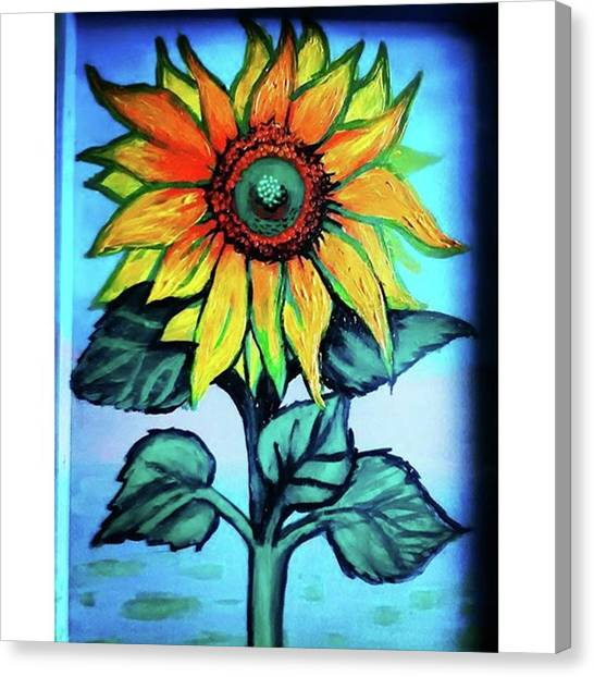 Sunflowers Canvas Print - Working On This Sunflower. #sunflower by Genevieve Esson
