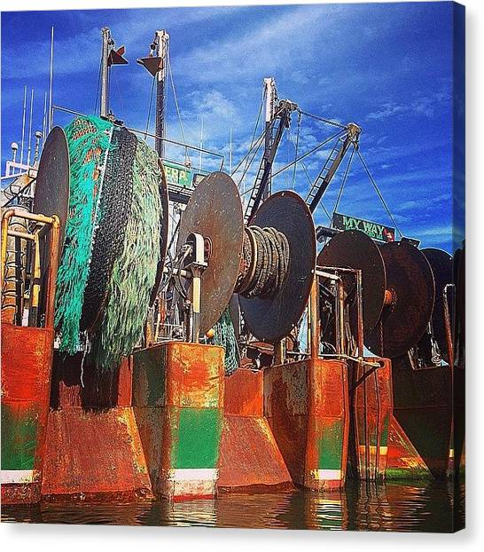 Fishing Boats Canvas Print - Working Waterfront  by Kate Arsenault