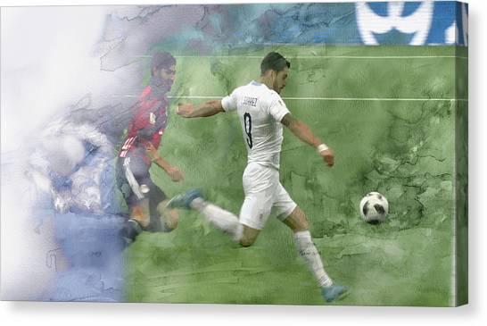 British Premier League Canvas Print - World Cup 2018 Suarez 2 by Jani Heinonen