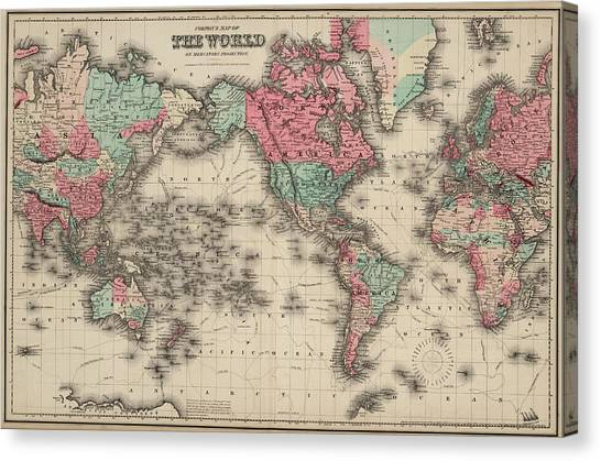 Projection Canvas Print - World In Mercator's Projection by Colton