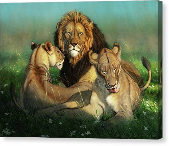 Lions Canvas Print - World Lion Day by Aaron Blaise