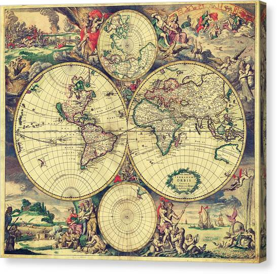 World Map 1689 Canvas Print