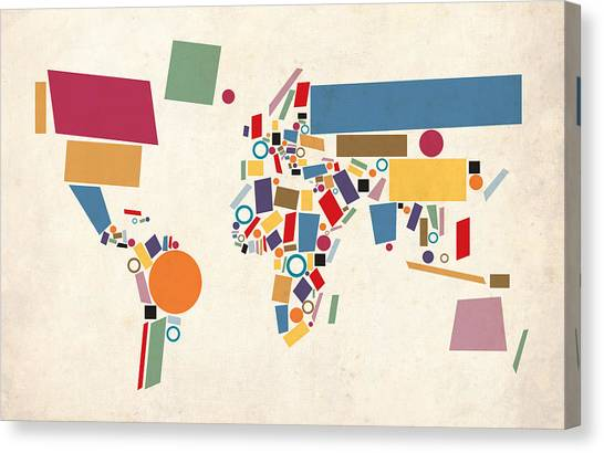 Map Canvas Print - World Map Abstract by Michael Tompsett