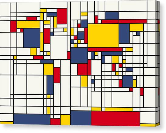 World Map Abstract Mondrian Style Canvas Print