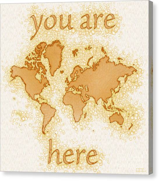 World Map Airy You Are Here In Brown And White  Canvas Print
