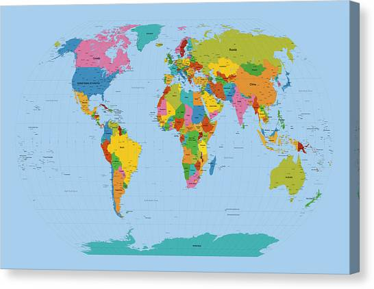 Map Canvas Print - World Map Bright by Michael Tompsett