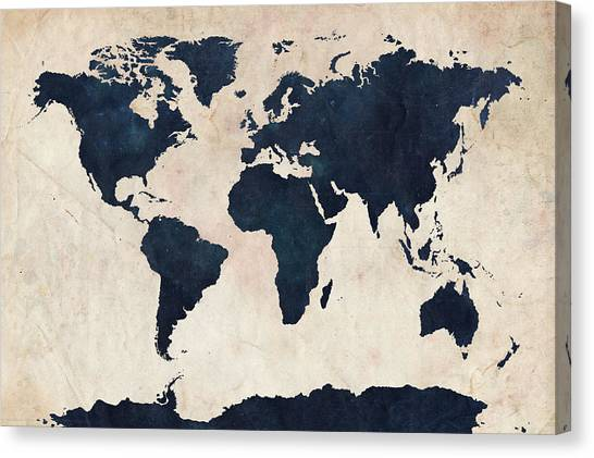 World Map Canvas Print - World Map Distressed Navy by Michael Tompsett