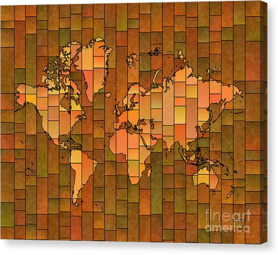 World Map Glasa Brown Orange Green Canvas Print