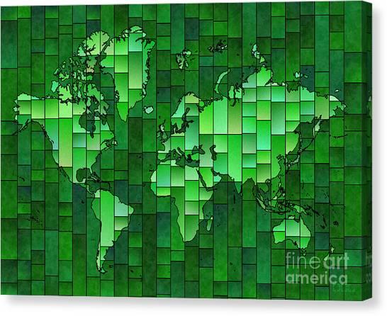 World Map Glasa Green Canvas Print