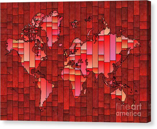 World Map Glasa Red Canvas Print