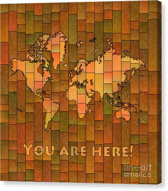 World Map Glasa You Are Here Brown Orange Green Canvas Print