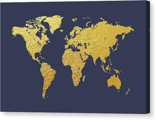 Planet Canvas Print - World Map Gold Foil by Michael Tompsett