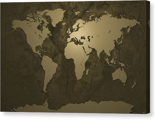 Gold Canvas Print - World Map Gold by Michael Tompsett