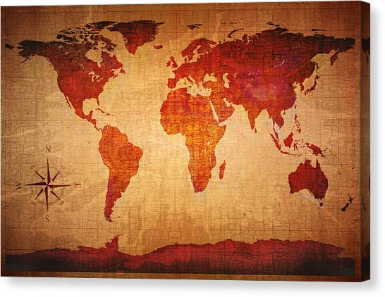 Old World Canvas Print - World Map Grunge Style by Johan Swanepoel