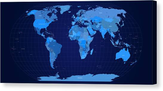 Planet Canvas Print - World Map In Blue by Michael Tompsett