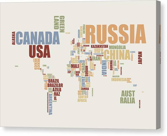 World Map Canvas Print - World Map In Words 2 by Michael Tompsett