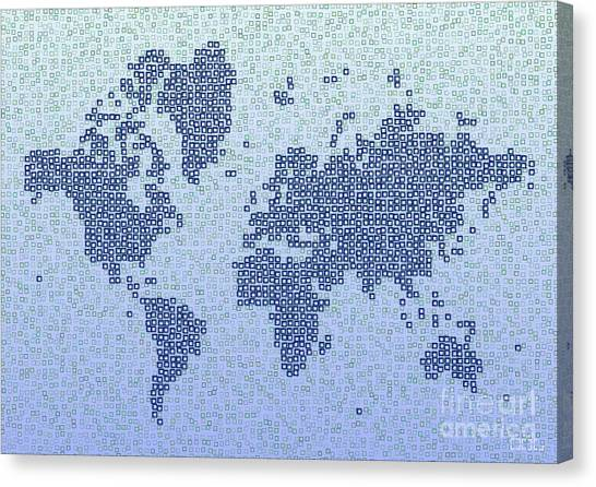 World Map Kotak In Blue Canvas Print