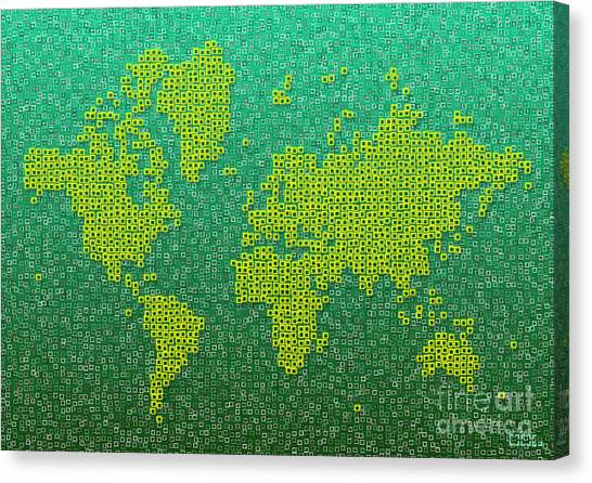World Map Kotak In Green And Yellow Canvas Print