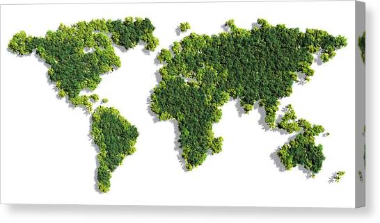 Clean Energy Canvas Print - World Map Made Of Green Trees by Johan Swanepoel